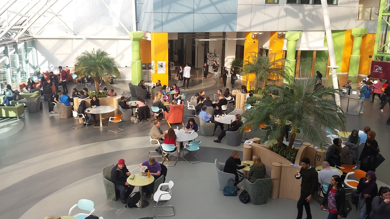 Students having lunch at the University of Bradford