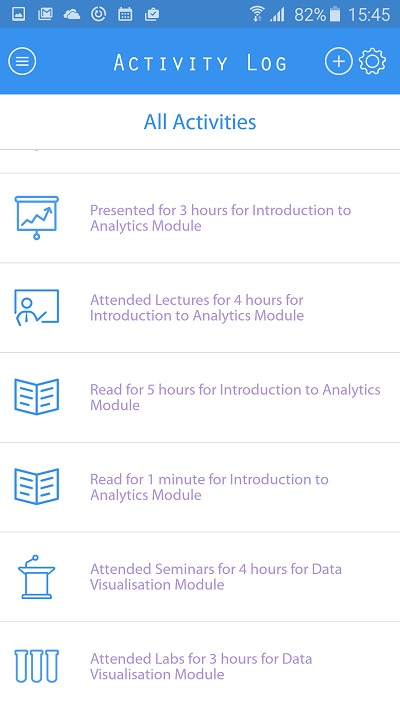 Activity log on Jisc student app