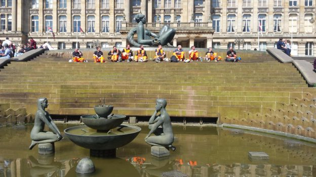 Workers enjoying the sunshine in Birmingham city centre