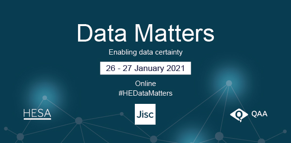 Image showing the Data Matters Event Banner on 26th-27th January 2021 #HEDataMatters