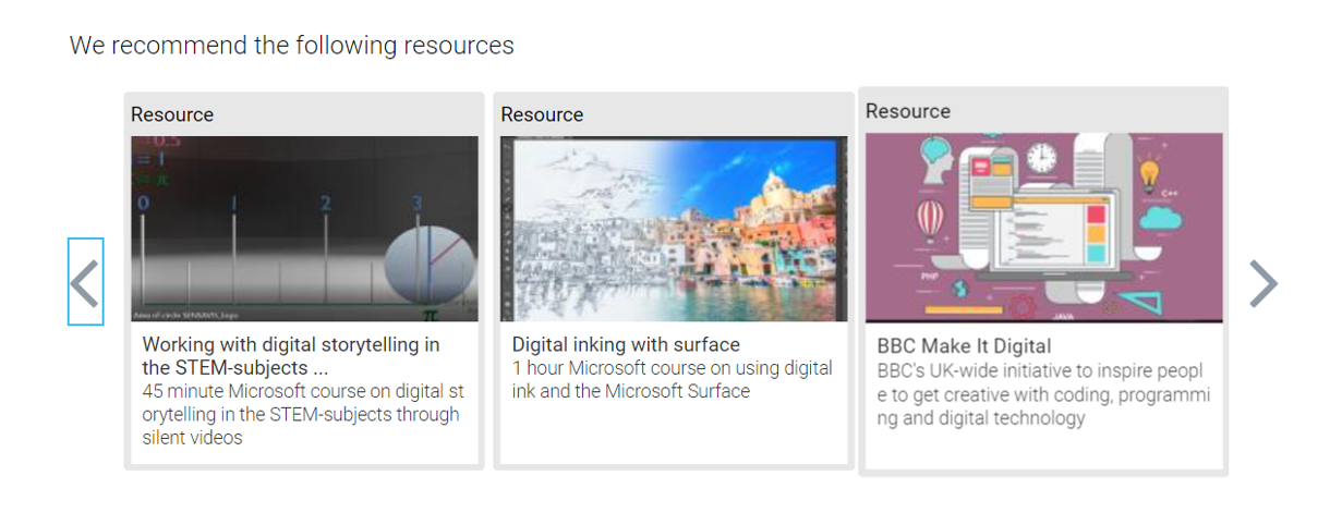 Image showing recommended resources from a building digital capability report.