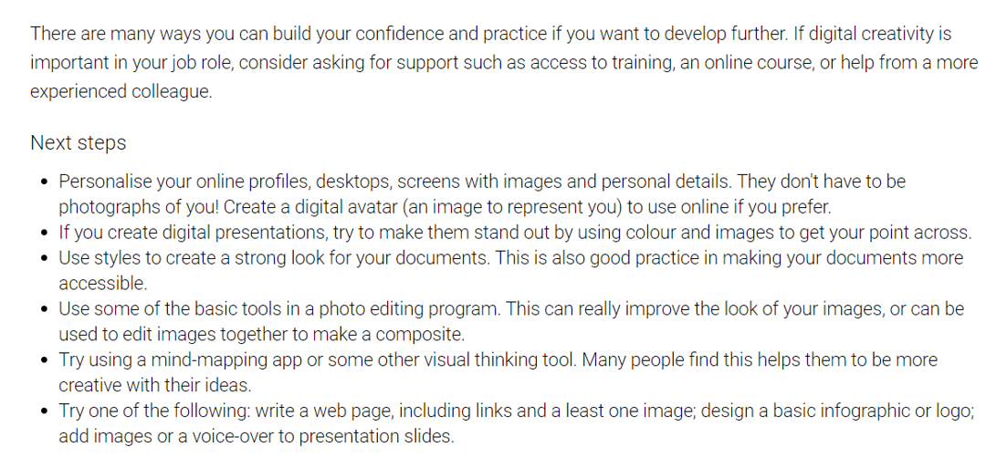 Image showing upskilling advice from my digital capability report.